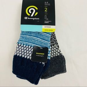 Fair Isle Crew Socks 2Pk Outdoor Duo Dry Blue Gray